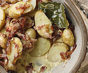 Jersey Royal and bacon gratin recipe