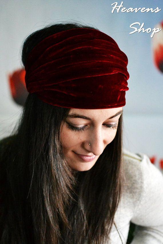 Red Headband Workout Headband Womens Headband Wide by HeavensShop