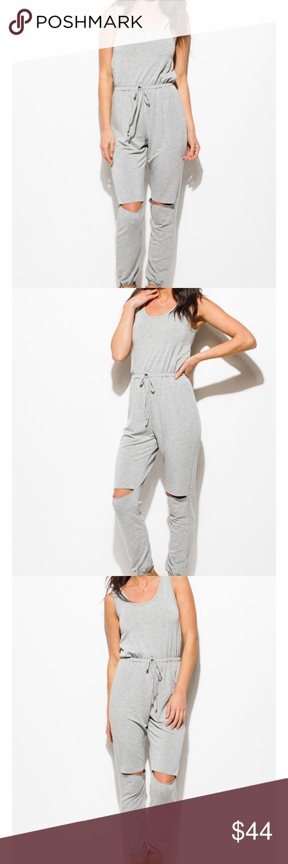 """🆕️🌟H. Grey Cut Out Jumpsuit 🌟 Kick back and relax in this! 50% Cotton 35% Rayon 5% Spandex Model is 5'9""""  Model is wearing exact product in size small New without tags  Price Firm unless bundled with another item Pants Jumpsuits & Rompers"""