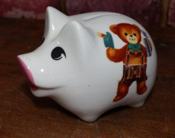 VINTAGE PIGGY BANK WITH LEDERHOSEN BEARS - MADE IN GERMANY