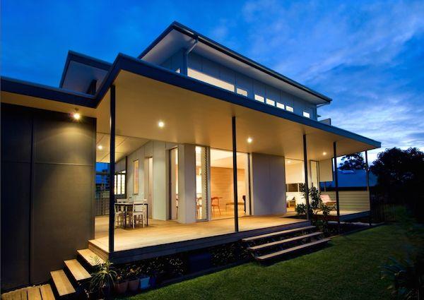 Outdoor deck and roof overhang