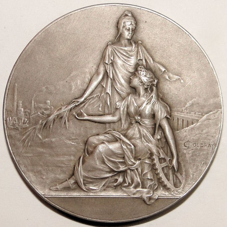 FRENCH SILVERED BRONZE ART NOUVEAU MEDAL BEEHIVE BY L. COUDRAY