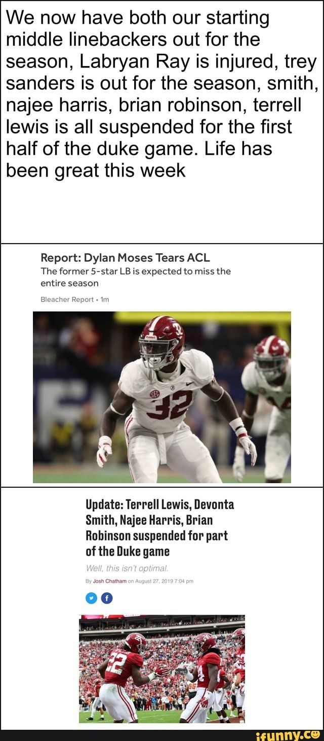 We Now Have Both Our Starting Middle Linebackers Out For The Season Labryan Ray Is Injured Trey Sanders Is Out For The Season Smith Najee Harris Brian Robi Memes Middle Linebacker