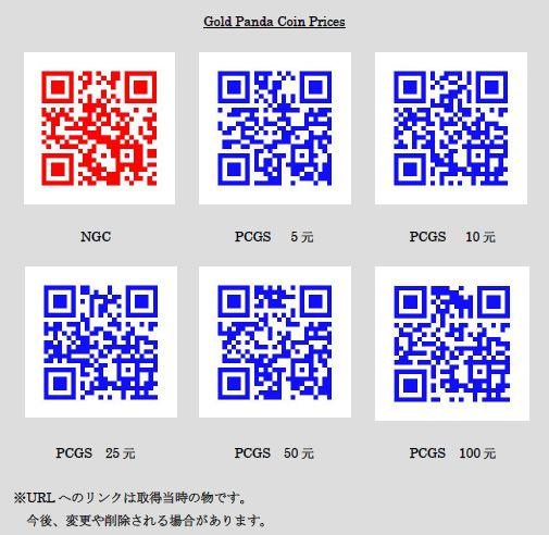 パンダ金貨の参考価格 NGG・PCGS QRコードリンク集