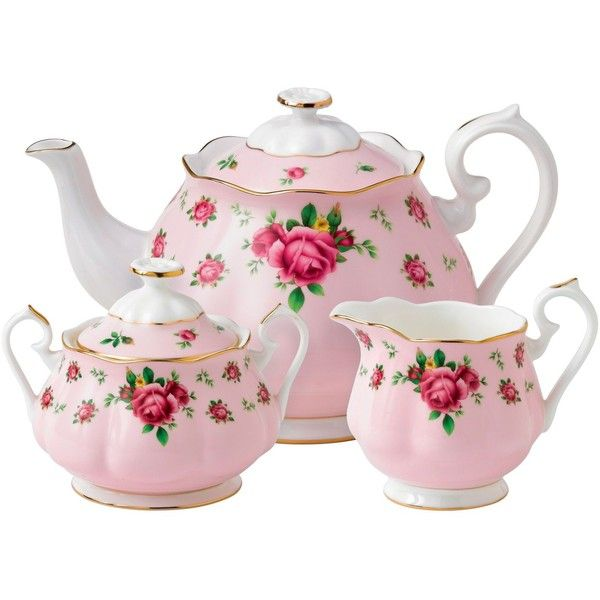 Royal Albert New country roses pink 3 piece tea set ($150) found on Polyvore