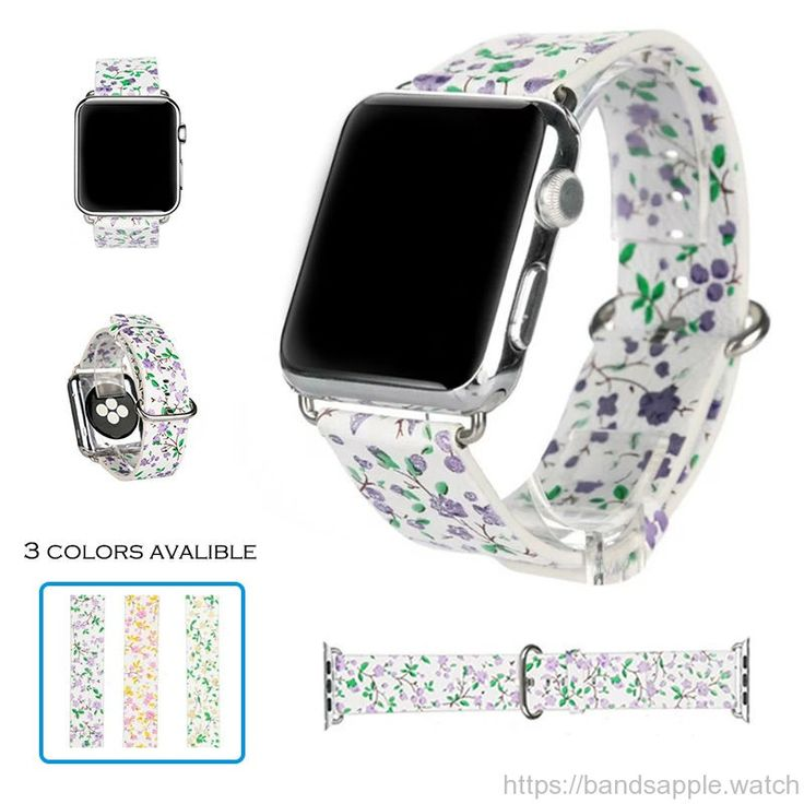 Genuine leather strap for iwatch Classic buckle small flowers pattern  floral band 38mm 42mm //