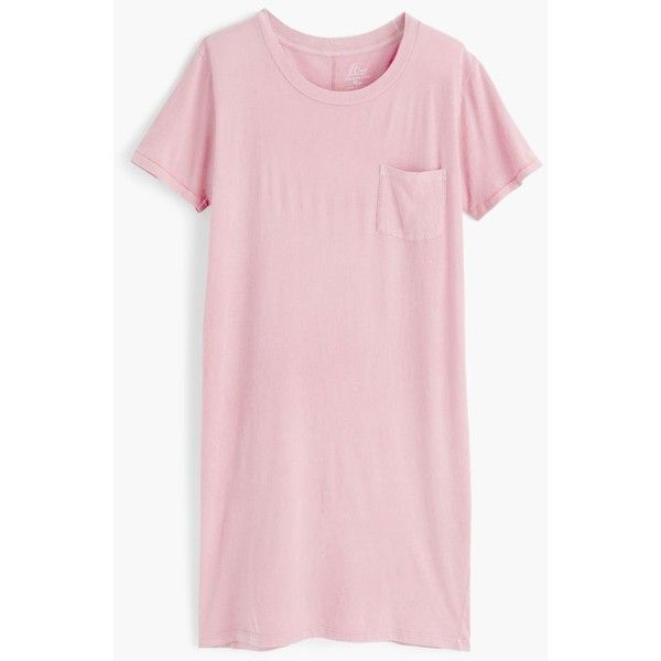 J.Crew Garment-dyed pocket T-shirt dress ($60) ❤ liked on Polyvore featuring dresses, pink dress, pocket dress, tee shirt dress, loose t shirt dress and pink tshirt dress