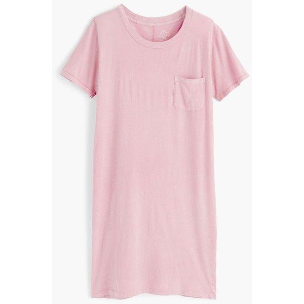 J.Crew Garment-dyed pocket T-shirt dress ($60) ❤ liked on Polyvore featuring dresses, pink dress, pocket dress, tee shirt dress, loose t shirt dress and pink tshirt dress