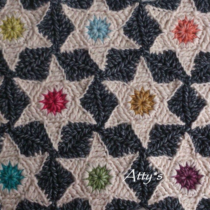 Crochet Star Hexagon Patern https://www.facebook.com/AttysLoveForCrochet
