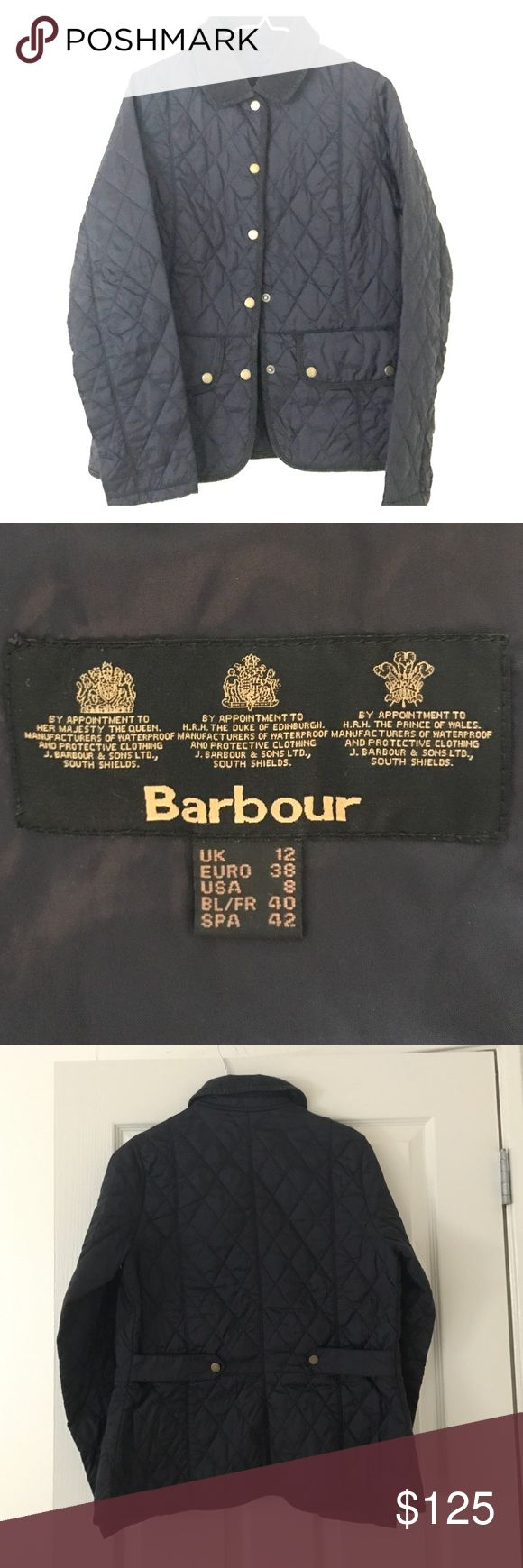 Barbour Quilted Jacket, Navy USA 8/UK 12, like new Beautiful like new, never used. Barbour quilted navy jacket. Cinched silhouette, button from pockets. Simple, elegant, timeless. From England. Barbour Jackets & Coats