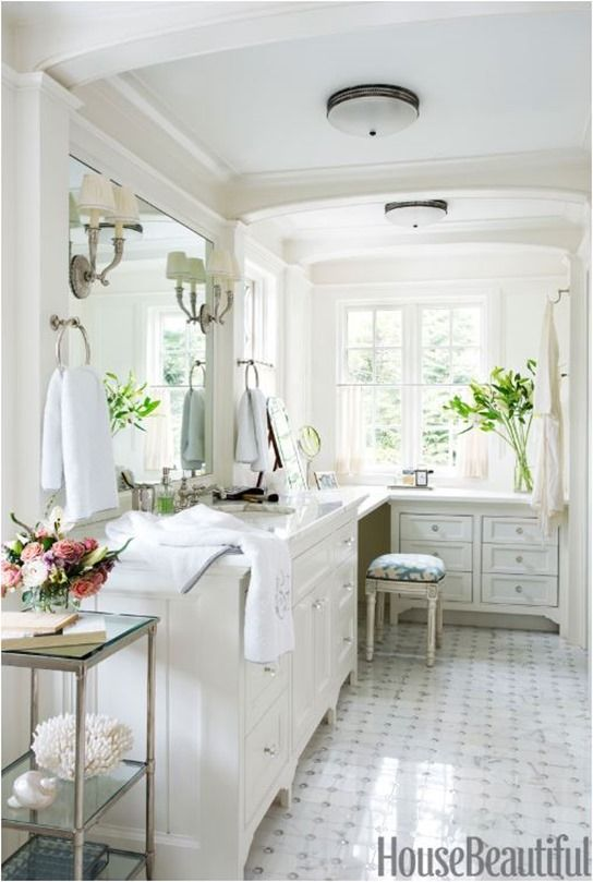 white bathroom house beautiful - towel rings and lighting through the mirror class