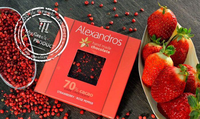 Σοκολατα υγειας με φραουλα και ροζ πιπερι