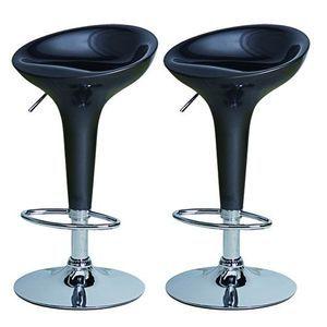 Bombo Swivel Bar Stool - Pub Barstool - Height Adjustable - Set of Two - Black