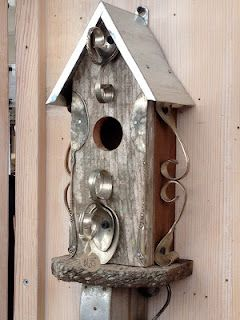 silverware embellished birdhouse love this