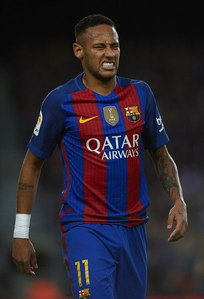 Neymar JR of Barcelona reacts during the La Liga match between FC Barcelona and Malaga CF at Camp Nou stadium on November 19, 2016 in Barcelona, Catalonia.