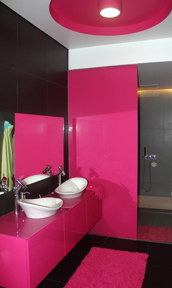 Black And Pink Bathroom With #design #bathroom Equipments