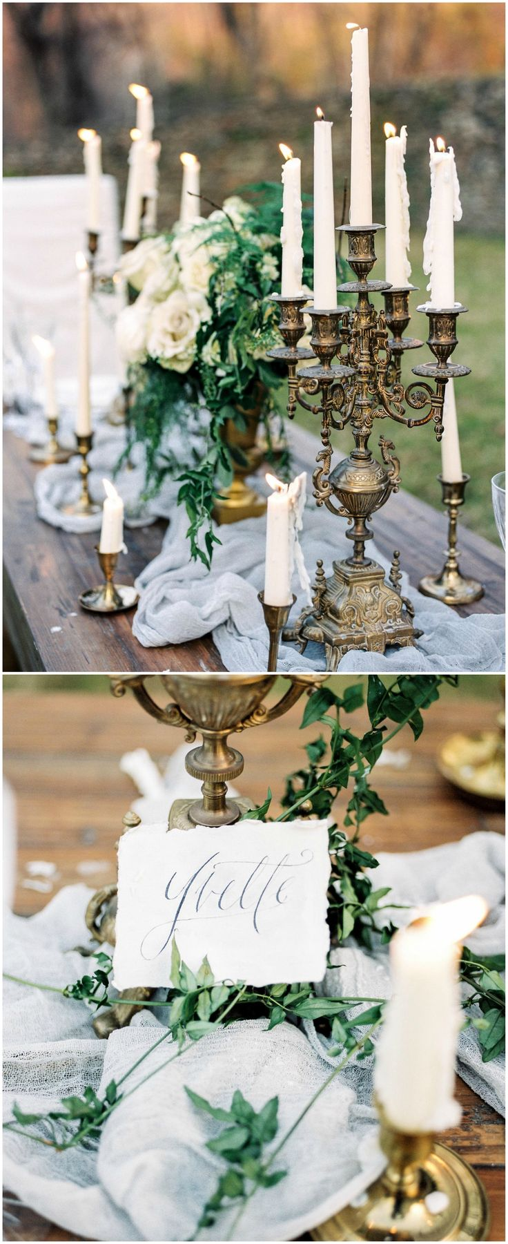 Wedding décor, farm table antique candelabras, gauzy blue runner, calligraphy, greenery // Lissa Ryan Photography