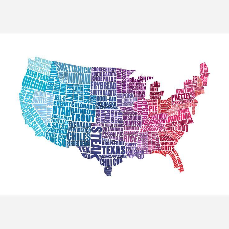 U.S. gastronomy map / lucy stephens: American Food, Lucy Stephen, Gastronomy Maps, Fab Com, Art Design, American Gastronomy, Food Maps, Multi 24X17, Gastronomy Multi