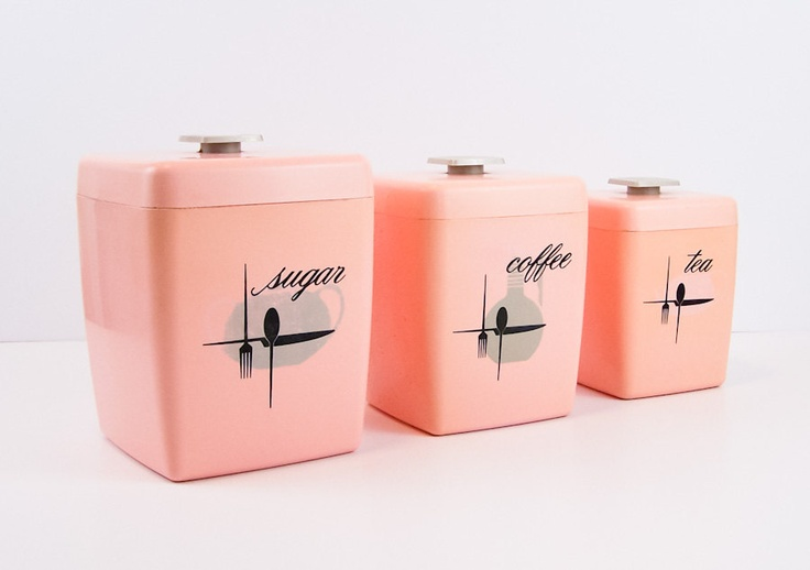Mid century pink plastic kitchen canister set retro for Kitchen set plastic