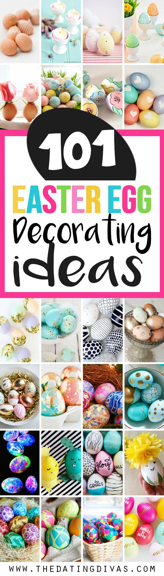 A huge collection of the BEST Easter egg decorating ideas! Includes fun ideas for kids AND some seriously gorgeous ideas for adults! www.TheDatingDivas.com