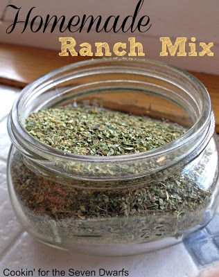 Cookin' For the Seven Dwarfs: Homemade Ranch Mix- SO much cheaper to make than the store bought mix!