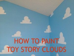 We get several questions about our painted clouds on the walls of our ToyStoryRoom.  This blog will show you how to make Pixar perfect Toy Story Clouds of your own. Our Toy Story Cloud stencils are now available on Amazon. Or on Living Lullaby Boutique. The blue paint color is Benjamin Moore