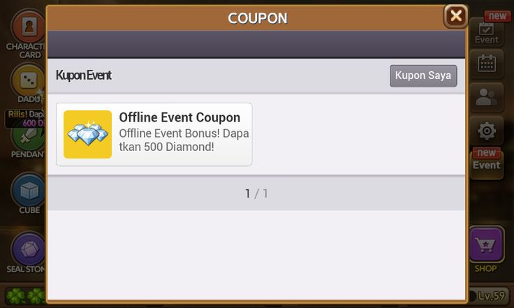 Kode Kupon Offline Event Coupon Berhadiah 500 Diamond Get Rich?