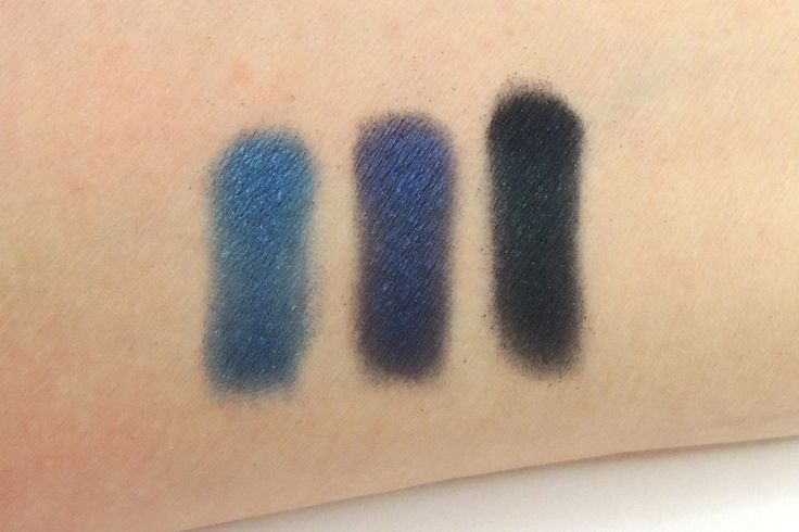 Urban Decay, Urban Spectrum Palette, blue row Left to right: Madness, Evidence and Prank