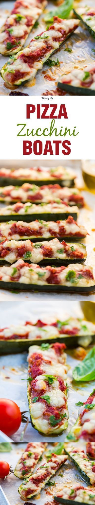 Really enjoyed these....  Sail away to a delicious nirvana with this recipe for Skinny Ms. Pizza Zucchini Boats!