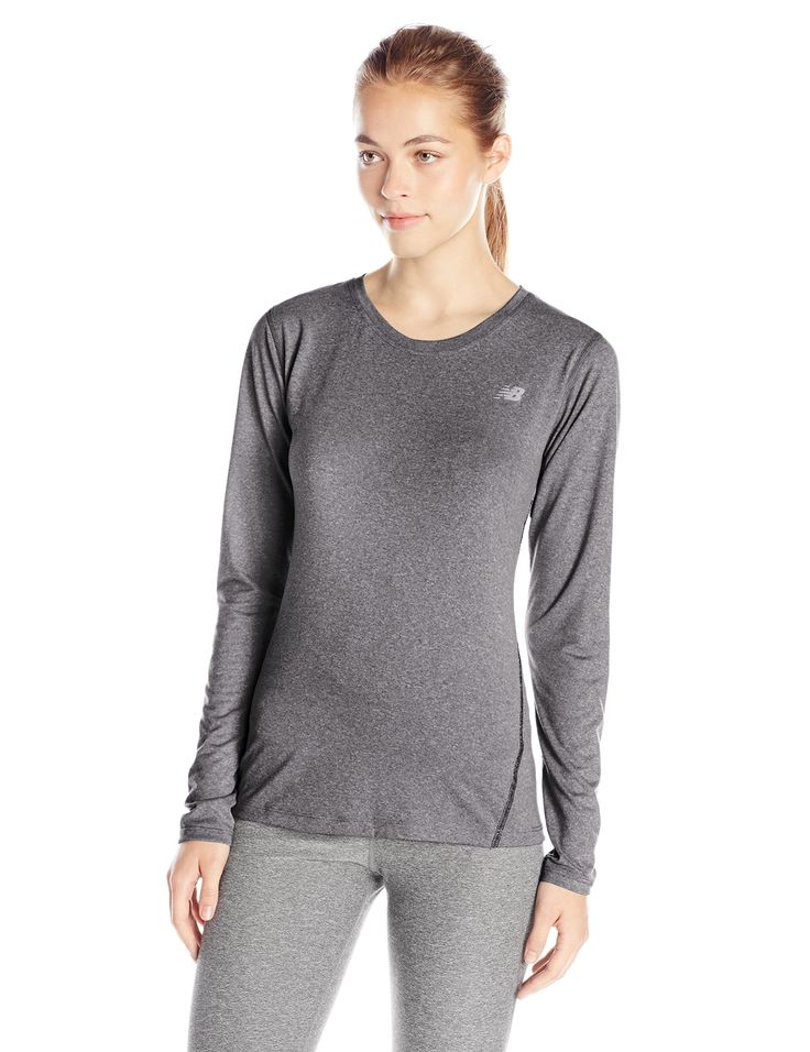 New Balance Women's Heathered Long Sleeve Tee, Black Heather, Large. Heather Jersey. Forward Side Seams In Contrast Stitching. Flatlock Stitching To Reduce Chafe. Reflective Logo At Wearer's Left Chest. NB Dry and NB Fresh.