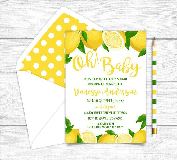 Printable Girl Baby Shower Invitation Yellow Lemon Baby
