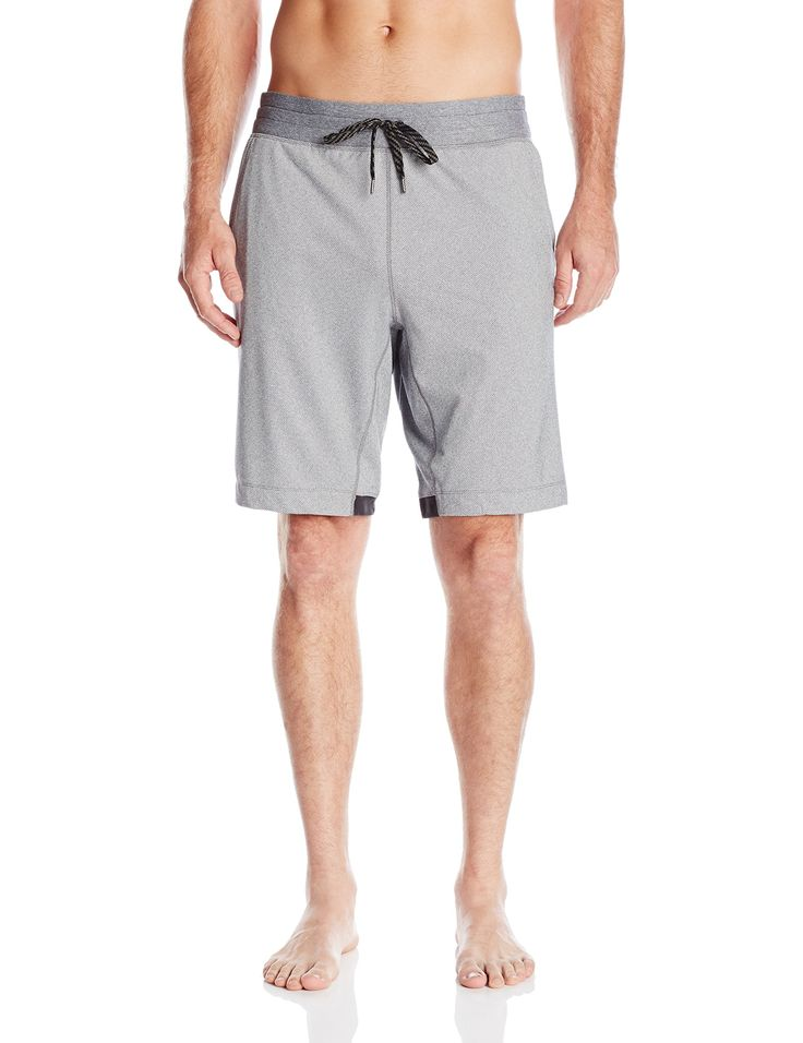 Manduka Men's Tailor Shorts, Harbor Twill, X-Large. 69% polyester, 24% Nylon, 7% spandex, oeko-tex Certified. Gusset provides a full range of motion. Ventilating mesh-lined pockets. Exterior drawstring.
