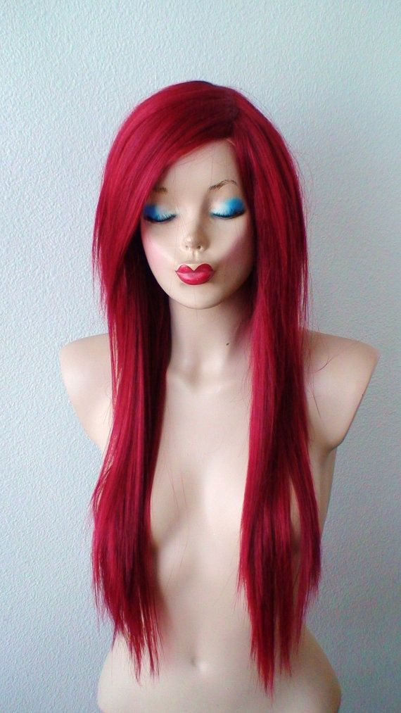 Scene / Emo Wine red wig. Long red hair wig. Straight by kekeshop $89.95