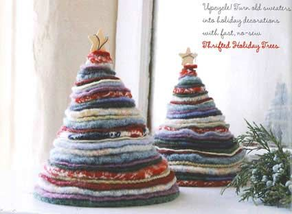 Cheap Christmas Decorations - save those old sweaters or raid the charity shops for this one.  I love the simplicity of the shape and muted colours.  Thinking that smaller ones would also work as tree decorations.