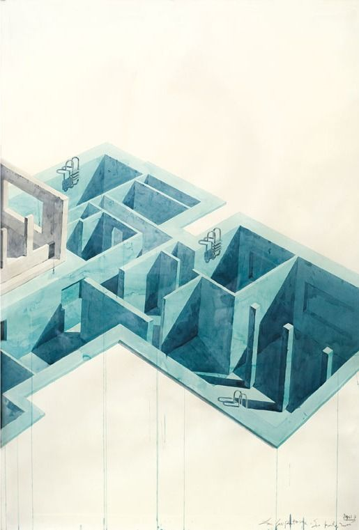 "polychroniadis: "" Los Carpinteros, 'Casa Con Piscina', (Part 1) 2005. Watercolour and pencil on paper, 200 x 420 x 7 cm. """