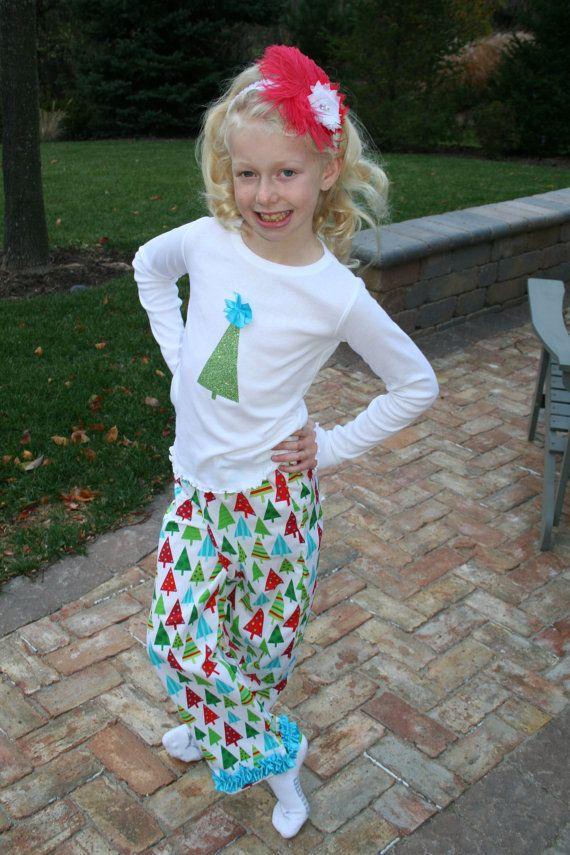 Retro Christmas Tree Pajamas, Girls Christmas Pajamas, Christmas Pajamas for Children, Kids Christmas Pajamas, 2T, 3T, 4T, 6, 8, 10