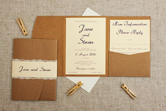 Cream and lace pocketfold wedding invite  - see more pics at http://bemyguest.co.nz/archives/item/rustic-cream-lace-pocketfold-wedding-invitation/