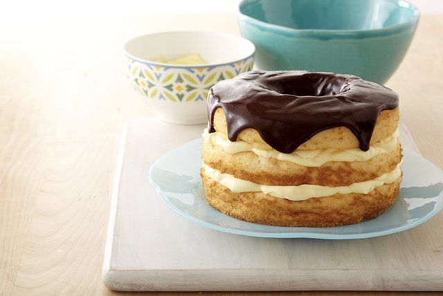 If you like Boston cream pies, you're going to really, really like this one—made with two layers of creamy filling!