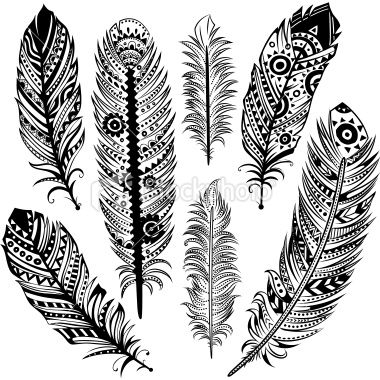 Set of Ethnic feathers Royalty Free Stock Vector Art Illustration