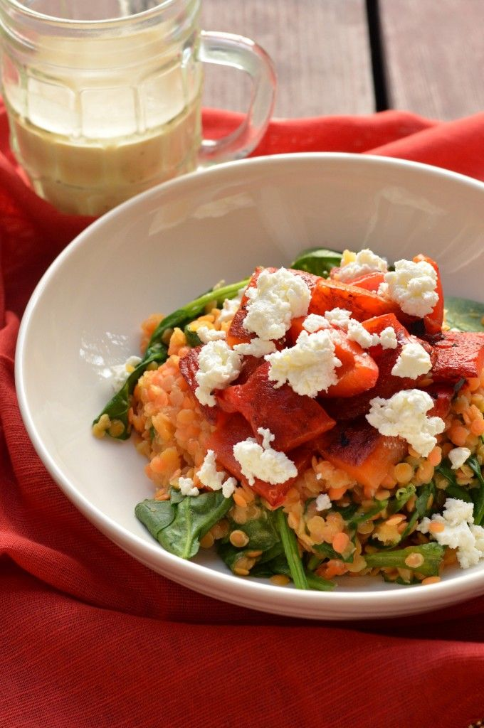 Warm Lentil Salad with Roasted Red Peppers and Spinach ...