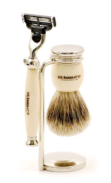 D R Harris - An elegant 3 piece shaving set embossed with the D. R. Harris logo which will grace any bathroom. The razor takes Gillette Mach 3 blades and the shaving brush with the chrome base is of medium weight. Storing the brush in this way ensures it will dry correctly and will prolong the brush life.