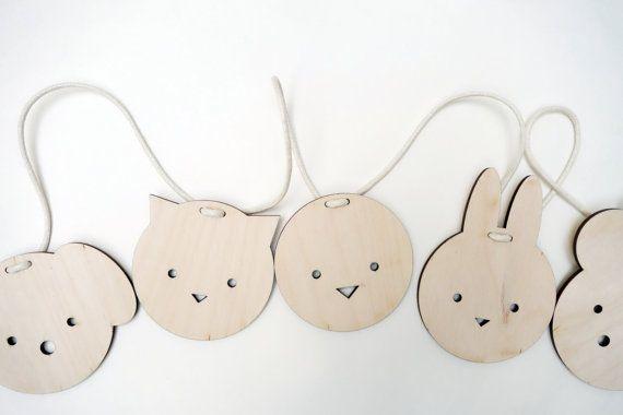 Ghirlanda di animali in legno nursery decor stamina di
