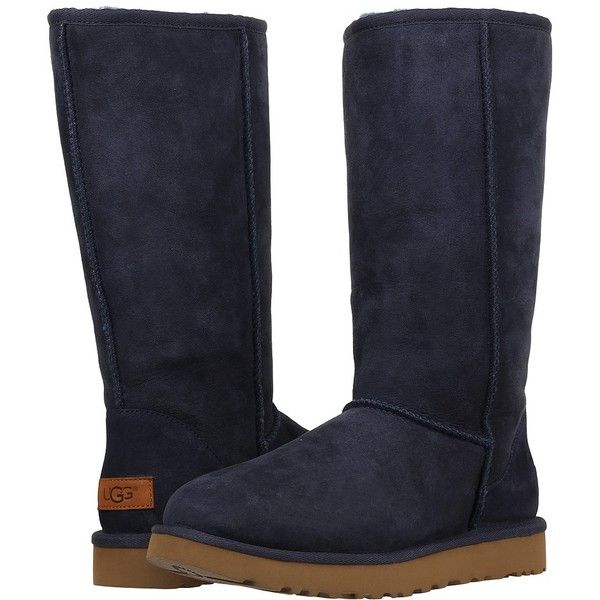UGG Classic Tall II (Navy) Women's Boots ($200) ❤ liked on Polyvore featuring shoes, boots, mid-calf boots, high platform boots, ugg australia boots, shearling-lined boots, tall boots and fur boots