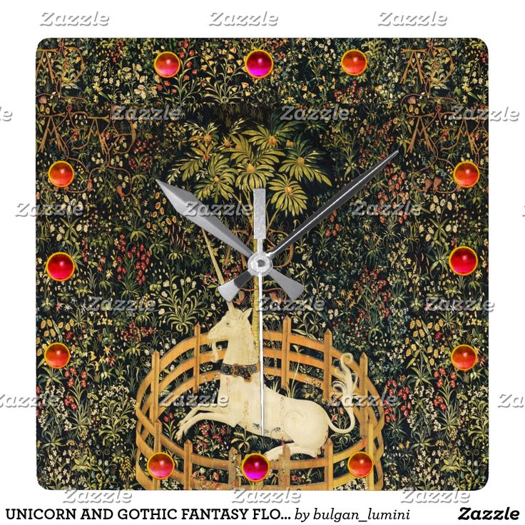 UNICORN AND GOTHIC FANTASY FLOWERS,FLORAL MOTIFS SQUARE WALL CLOCK #horses #homedecor #clocks #medieval #antique