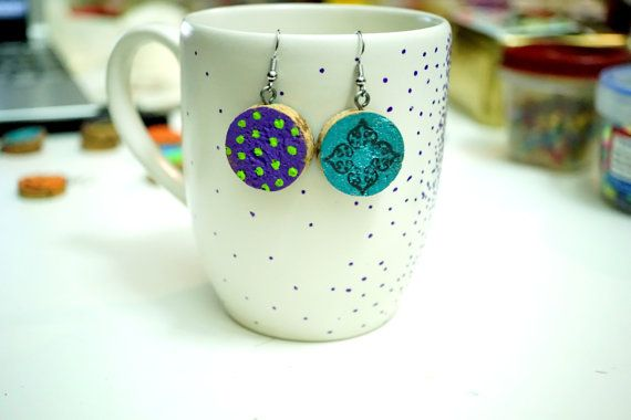 Recycled Wine Cork Earrings - Two Sided - Green Dots on Purple and Black Stamp on Turquoise