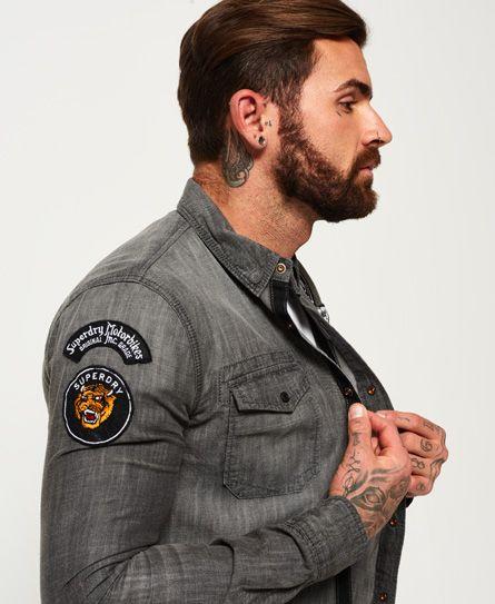 c764450cd0e Superdry Dragway Patch Denim Long Sleeve Shirt