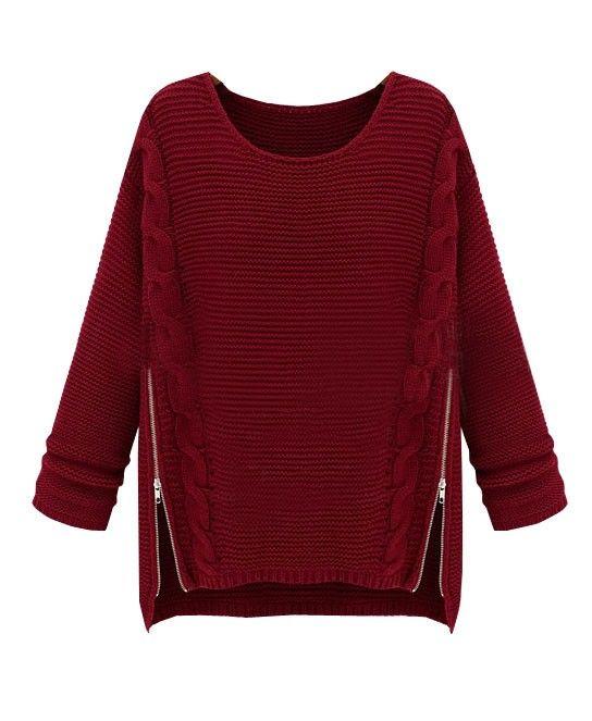 Zipper Side Cable Knit Sweater - Knitwear