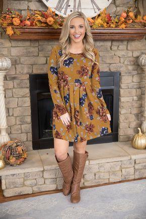 Dreaming Of This Season Floral Midi Dress Mustard