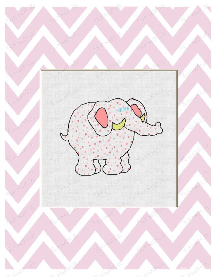 Elephant Chevron Pink Print Wall Art Print Cartoon Elephant Home Decor Wall Art 8 x 10 Print