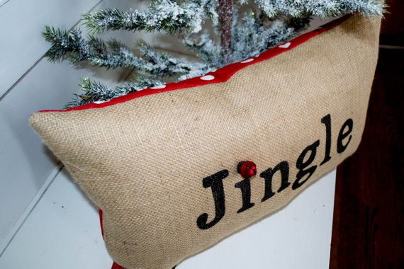 Burlap Christmas Pillow Holiday Pillow by JoaniesFavoriteThing